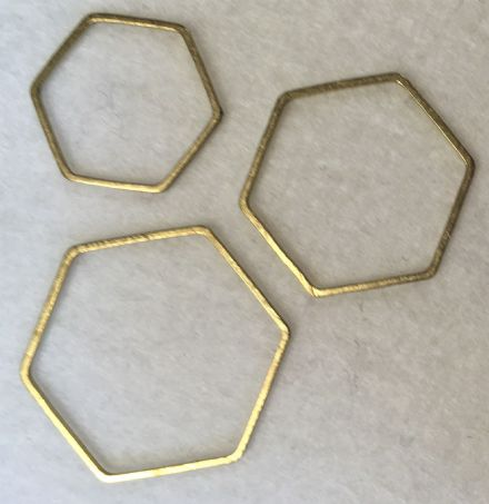 Dorset Button Rings Brass Hexagon